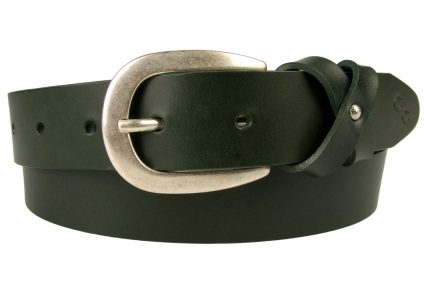 Womens Green Leather Belt And Silver Plated Buckle. A high quality British Made Leather Belt with a cross over loop giving a bow effect. Rich bottle green / emerald green Italian full grain vegetable tanned leather. Silver plated buckle with an antique finish and lacquered for protection. 3 cm Wide with five fastening holes and available in several sizes.