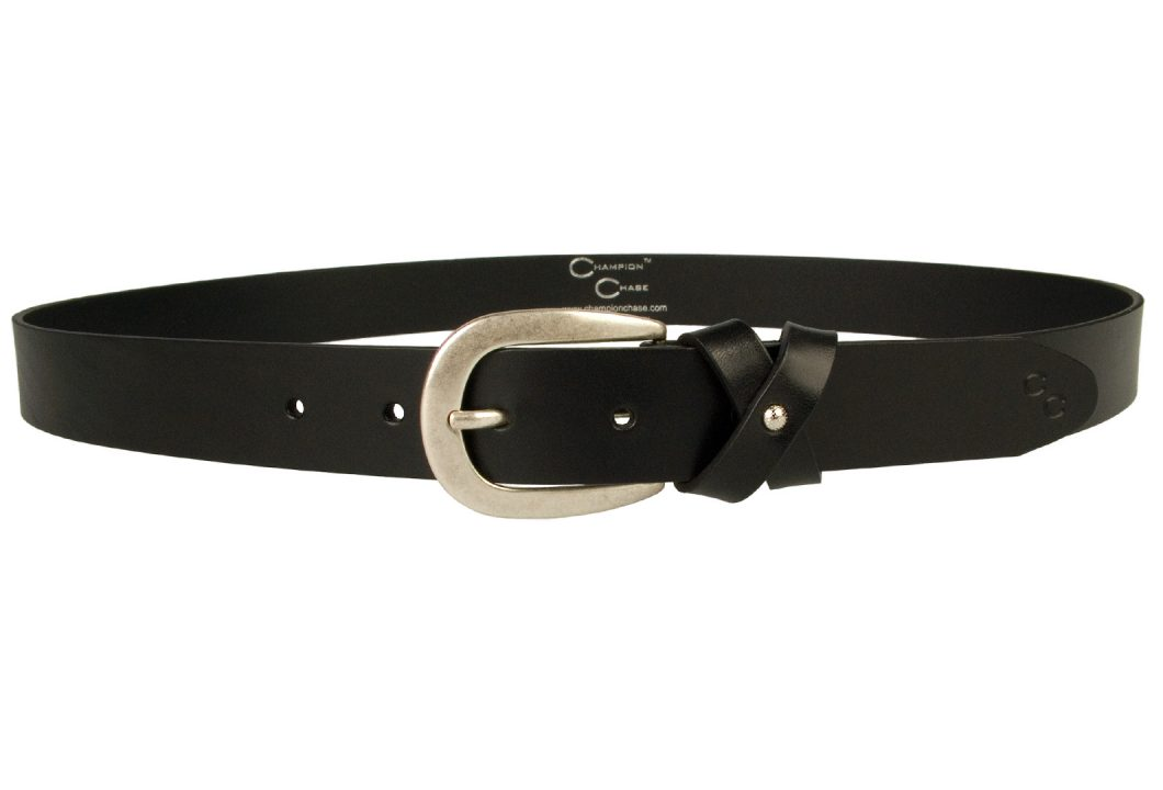 Womens Leather Bow Belt Black. Made In UK By British Craftsmen. High quality full grain leather and Italian made silver plated buckle - old silver tone finish. The leather loop is designed to form a stylized bow effect secured in the center by a pretty bright silver toned ornament. 3cm Wide and approx 3mm in thickness. A smart feminine addition to your wardrobe.