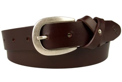 A High Quality British Made Womens Leather Belt In Rich Mulberry Tone Leather. This mulberry tone leather belt is made in the UK by British Artisans using high quality Italian Full Grain Leather. The belt comes with a high quality Italian made silver plated buckle with an Antique finish. The keeper is made from a crisscrossed leather loop with a small domed ornament to the center giving a feminine 'bow' effect.The belt tip also comes with the Champion Chase ™ signature horse shoe motif.