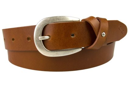 Tan Leather Belt With Feminine Crisscross Keeper. Silver Plated Buckle with an Antique finish which is lacquered for protection. The crisscross keeper has a subtle small domed embellishment to the center and the belt tip has our Champion Chase motif creating a smart feminine belt for most occasions. Made in the UK by skilled British Artisans using high grade Italian Full Grain Vegetable Tanned Leather. The belt is 3cm wide and the leather thickness is approximately 3mm.