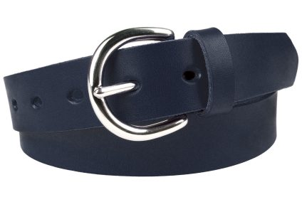Womens Navy Blue Leather Belt With Silver Tone Buckle (nickel plated solid brass buckle). Made in UK. 3cm Wide. Full Grain Italian Vegetable Tanned Leather and Italian Made Buckle.